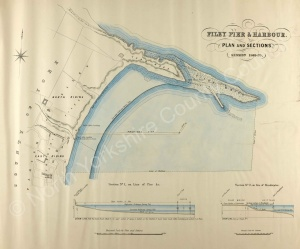 Historic map of Filey pier and Harbour 1869
