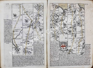 Historic Road Map from York to Whitby & Scarborough 1731