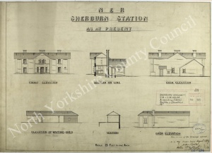 Historic plan of Sherburn in Elmet Station 1889