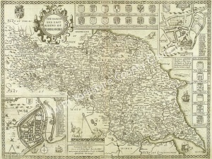 Historic map of the North and East Ridings of Yorkshire 1610