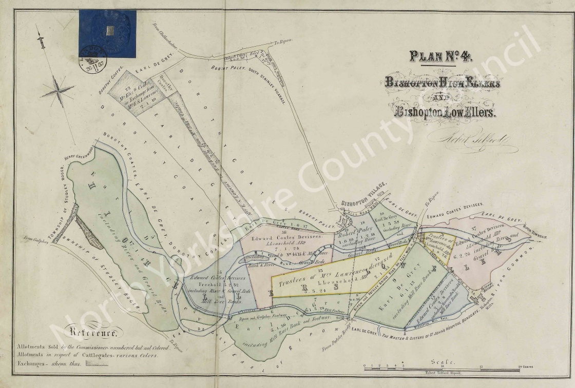 Historic inclosure map of Ripon 1858, Plan 4 on